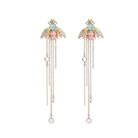 Long Bee Inspired Gold Drop Earrings with Pink and Green Crystal Stone-Earrings-Amare Tutto Jewellery
