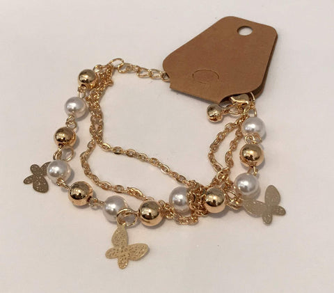 Mini Butterfly and Pearl Gold Multilayer Link Chain Charm Bracelet | AU STOCK-Bracelets & Bangles-Amare Tutto Jewellery