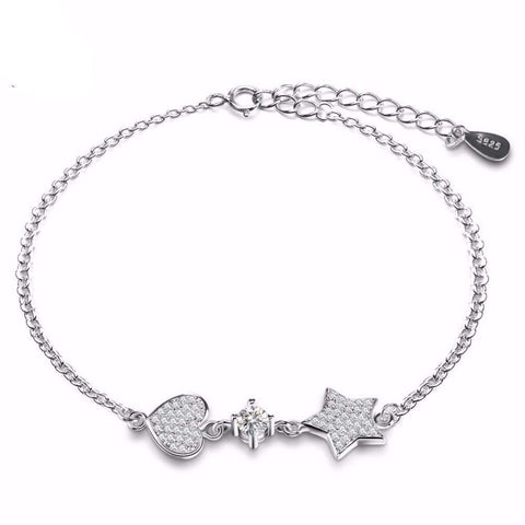 ORSA Silver Bracelet with Micro Paved Love Heart and Star Bracelet-Bracelets & Bangles-Bracelet-Amare Tutto Jewellery