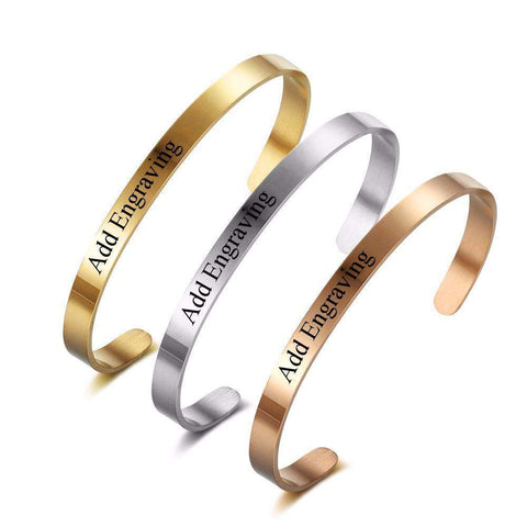 Personalised Message or Name Engraved 5mm ID Bangle Bracelet in Silver or  Rose Gold | Bracelets & Bangles | Fashion Jewellery Amare Tutto