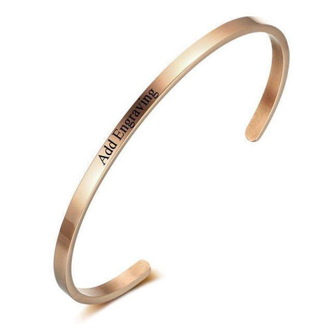 Personalised Name Engraved ID Bangle Bracelet in Silver / Rose Gold / Black-Bracelets & Bangles-Amare Tutto Jewellery