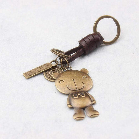 Retro Brass Lovely Bear and Charms Brown Leather Braided Key Chain Key Ring Bag Accessory | Key Chains | Fashion Jewellery Amare Tutto