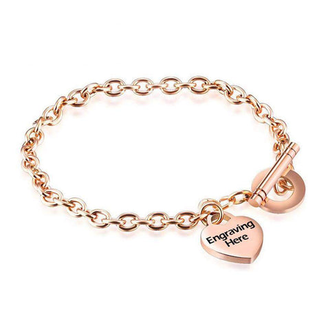 Rose Gold Stainless Steel Heart Shape Toggle Bangle Bracelet with Custom Personalised Engraving | Bracelets & Bangles | Fashion Jewellery Amare Tutto