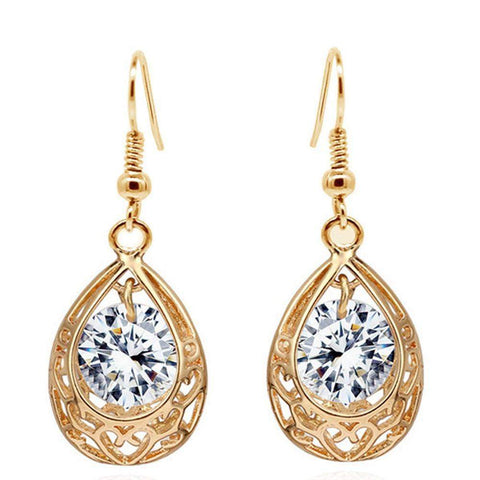 Royal Kate Inspired Antique Vintage Gold Plated Hollow Water Drop Earrings with an Crystal in Yellow, Purple or White-Earrings-Amare Tutto Jewellery