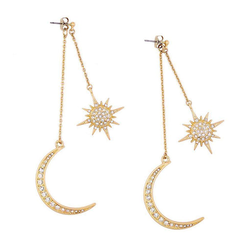 Shinning Gold Rhinestone Crescent Star Moon Long Dangle Drop Earrings-Earrings-Earrings-Amare Tutto Jewellery