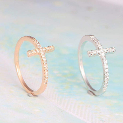 Sideways Cross Ring with Cubic Zirconia in Silver/Platinum, Rose Gold or Black Gum Plated-Rings-Amare Tutto Jewellery