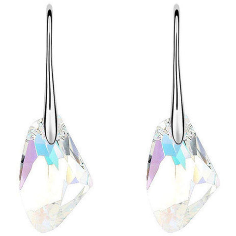 Silver Austrian Crystal CZ Water Drop Hook Earrings White | Red | Blue | Pink | Yellow | Purple-Earrings-Amare Tutto Jewellery