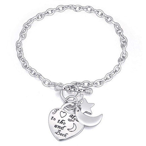 Silver 'I Love You to the Moon and Back' Charm Toggle Bracelet | AU STOCK-Bracelets & Bangles-Bracelet-Amare Tutto Jewellery