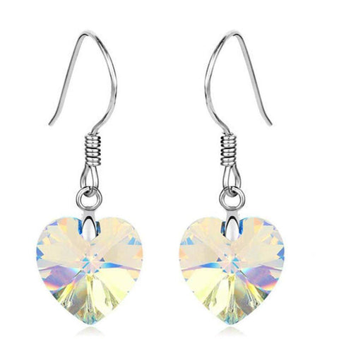 Silver Love Heart of the Ocean Austrian Crystals and Platinum Plated Drop Earrings - Many Colours-Earrings-Amare Tutto Jewellery