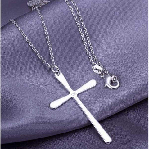 Silver Plated 925 Silver Bright Cross Pendant Necklace and Chain | AU STOCK | Necklaces | Fashion Jewellery Amare Tutto