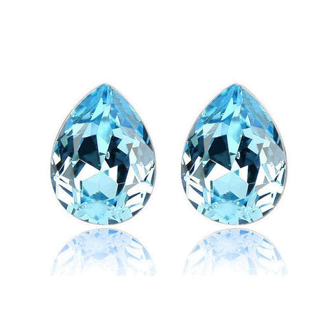 Silver Platinum Plated Austrian Crystal Large Tear Water Drop Stud Earrings - Many Colours-Earrings-Amare Tutto Jewellery