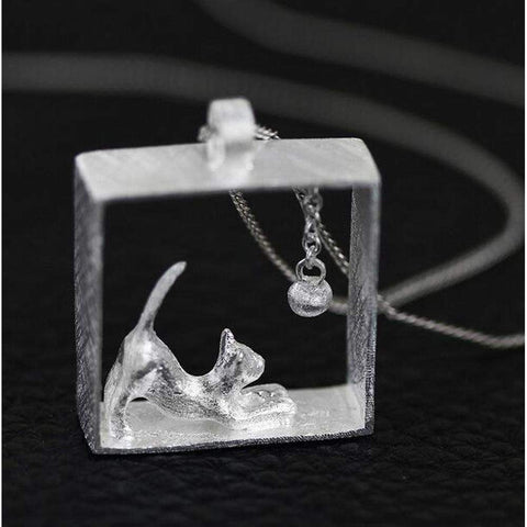 Silver Platinum Plated Cat and Ball Boxed Pendant Necklace | Necklaces | Fashion Jewellery Amare Tutto