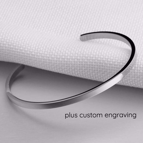 Silver Stainless Steel Inspirational Engraved Bracelet Bangle | Bracelets & Bangles | Fashion Jewellery Amare Tutto