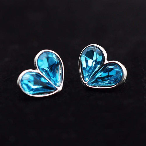 Silver Tone Platinum Plated Love Heart Shape Tear Crystal Stud Earrings - Blue, Purple, Pink-Earrings-Amare Tutto Jewellery
