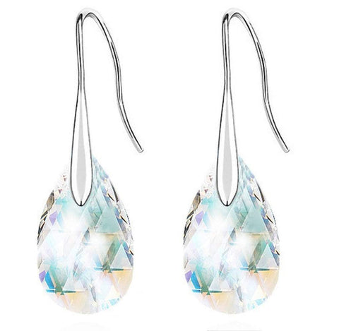 Silver Tone Sweet Tear Drop Earrings with Austrian Crystal in White Blue Red Green Black Purple-Earrings-Amare Tutto Jewellery