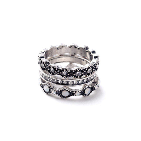 Silver Tone Vintage Three Ring Set with crystals-Rings-Amare Tutto Jewellery