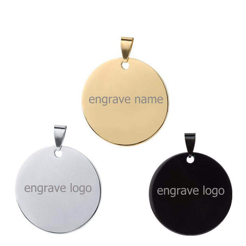 Stainless Steel Gold / Silver / Black Personalised Engraved Name Round Pendant Necklaces ID Tag Lover's Jewellery | Necklaces | Fashion Jewellery Amare Tutto