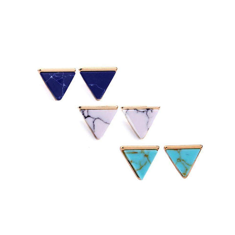 Triangle White Green Blue Marble Antique Gold Plated Earrings-Earrings-Amare Tutto Jewellery