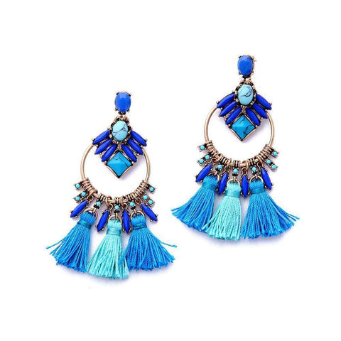 Turkish Ethnic Blue Tassel Dangle Drop Earrings-Earrings-Earrings-Amare Tutto Jewellery
