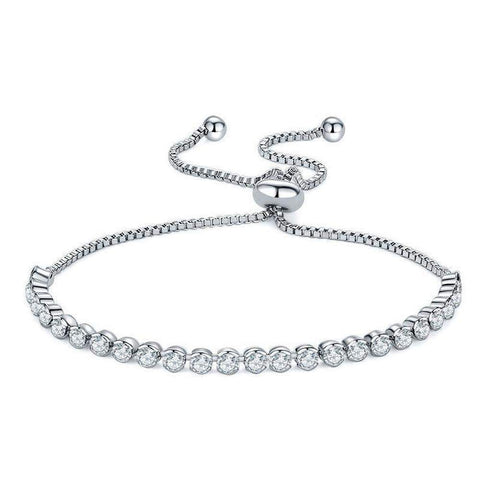 USTAR Adjustable Tennis Bracelets for women AAA Cubic Zirconia Silver Colour-Bracelets & Bangles-Amare Tutto Jewellery