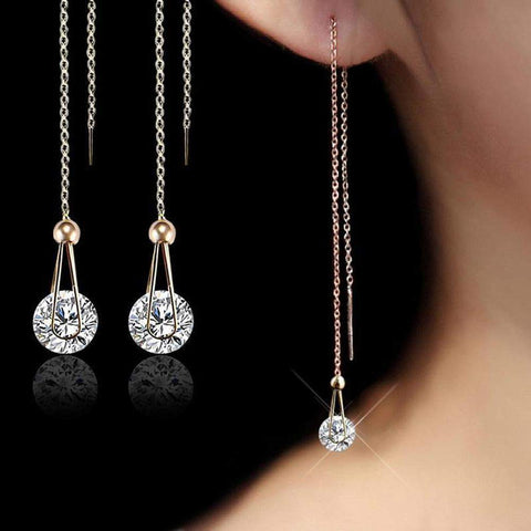 USTAR Water Drop Long Dangle Earrings 2.0ct AAA Round Cut Cubic Zirconia-Earrings-Amare Tutto Jewellery