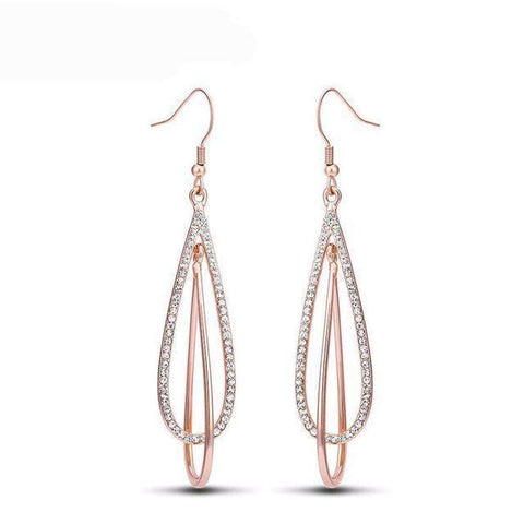 Viennois Rose Gold Long Dangle Earrings for Woman Double Layer Drop Earring Full Rhinestone Paved Female Earrings-Earrings-Amare Tutto Jewellery