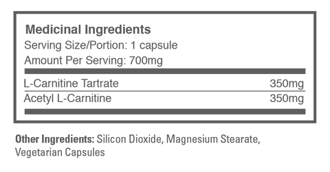 Carnitine 2.0 supplement label