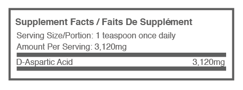 D-Aspartic Acid supplement label