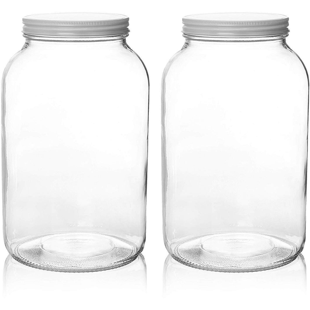 1 Gallon Glass Mason Jar Set - Metal Lids