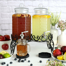 Load image into Gallery viewer, Dual Gallon Glass Beverage Dispensers with Decorative Metal Stand
