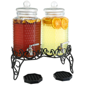 Dual Gallon Glass Beverage Dispensers with Decorative Metal Stand
