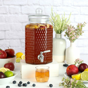1 Gallon Glass Beverage Dispenser with Stainless Steel Spigot - Decorative Mason Jar