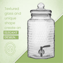 Load image into Gallery viewer, 1 Gallon Glass Beverage Dispenser with Stainless Steel Spigot - Decorative Mason Jar