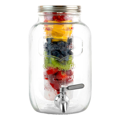 1 Gallon Glass Beverage Dispenser with Ice and Fruit Infusers and Stainless Steel Spigot