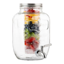 Load image into Gallery viewer, 1 Gallon Glass Beverage Dispenser with Ice and Fruit Infusers and Stainless Steel Spigot