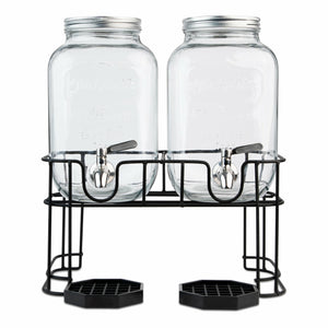 Dual Gallon Dispensers with Stand and Drip Trays