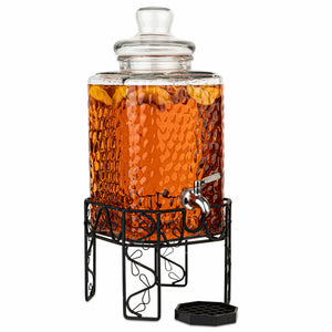 2.5 Gallon Glass Decorative Beverage Dispenser with Stainless Steel Spigot on Metal Stand and Drip Tray