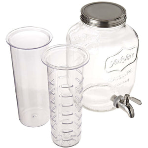 2 Gallon Glass Beverage Dispenser with Ice and Fruit Infusers and Stainless Steel Spigot