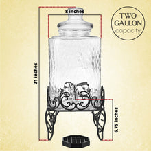 Load image into Gallery viewer, 2.5 Gallon Glass Beverage Dispenser with Stainless Steel Spigot on Metal Stand