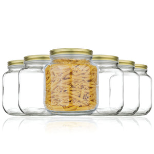 Half Gallon Mason Jar Wide Mouth - Pack of 6 - Gold Metal Lids