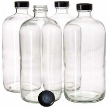 Load image into Gallery viewer, 32oz Boston Round Clear Glass Growler Set with Funnel