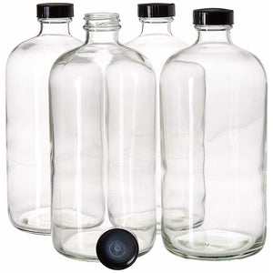 32oz Boston Round Clear Glass Growler Set with Funnel