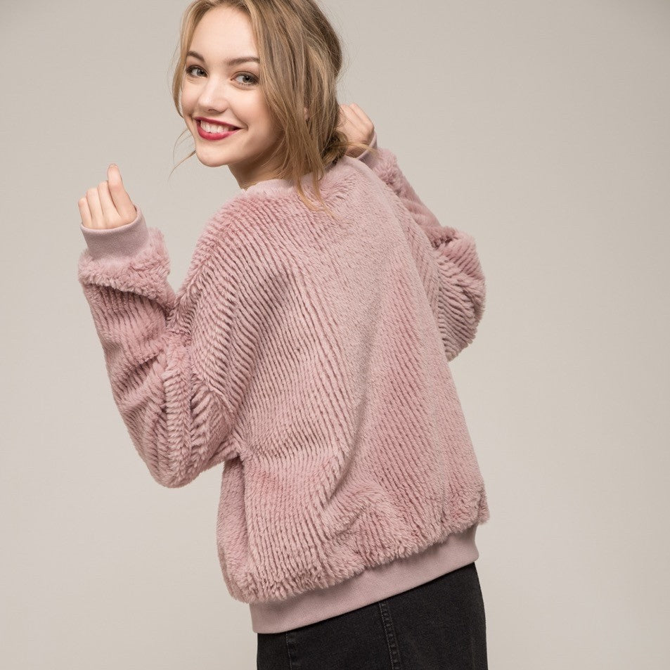 MOON RIVER Faux Fur Sweatshirt