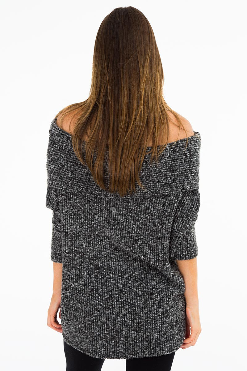 Bobi Off the Shoulder Sweater- Black