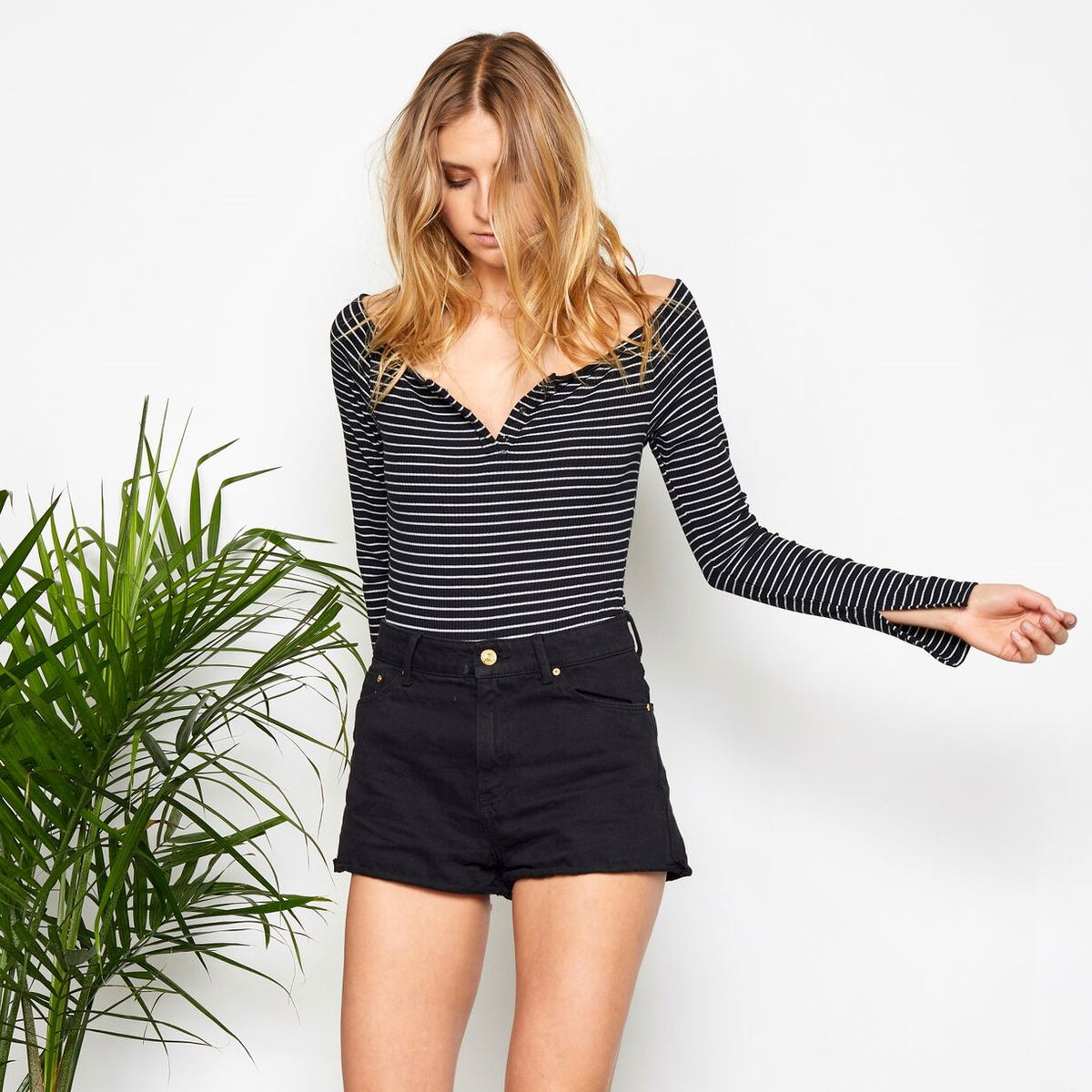 GENTLE FAWN Gia Bodysuit- Black Stripe