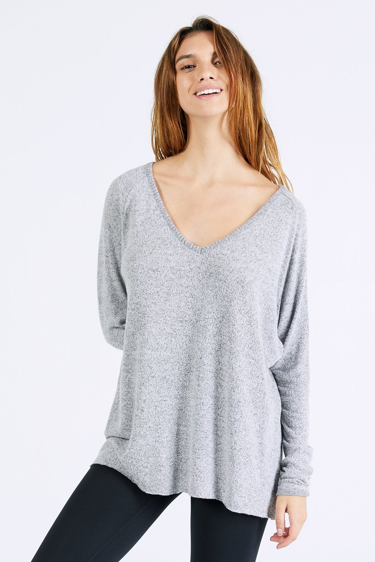 JOAH BROWN For Keeps V Neck- Salt & Pepper Hacci