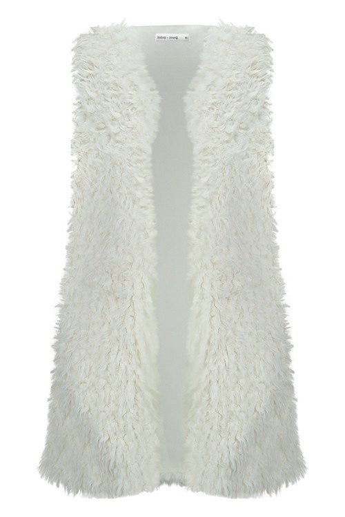 BISHOP & YOUNG Faux Fur Vest- Sand