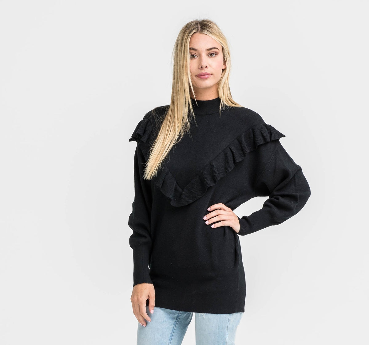 LUSH- Mitch Ruffle Sweater