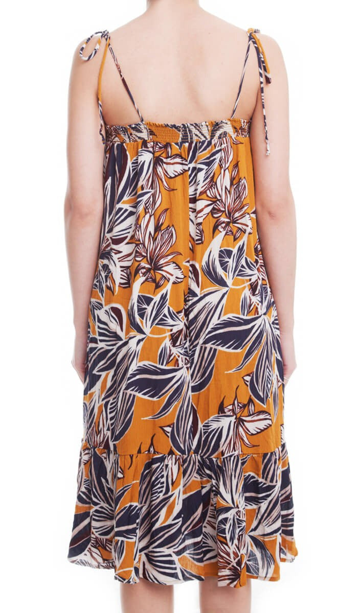 Tropical Print Dress- Mustard