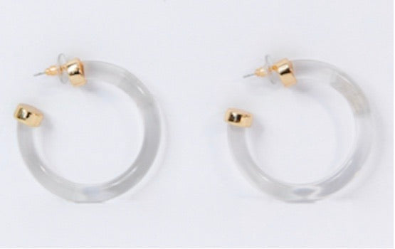PETIT MOMENTS Acrylic Hoop Earrings- clear